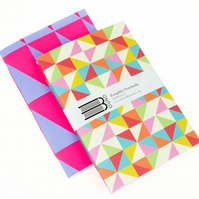 50% OFF SALE Notebook Set: Triangles and Diamonds Geometric Bright Colours.