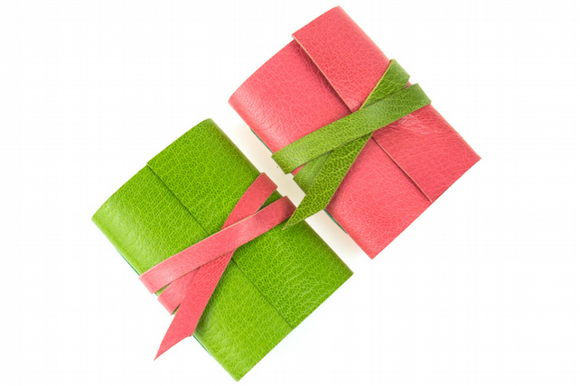 Mini Journal: Pink with Lime Green small leather notebook gift