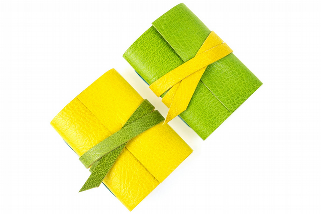 Citrus Mini Leather Journals: Lemon Yellow and Lime Green pair of notebooks