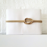 Leather Wedding Guest Book: White & Natural A6 medium size. Simple and elegant.