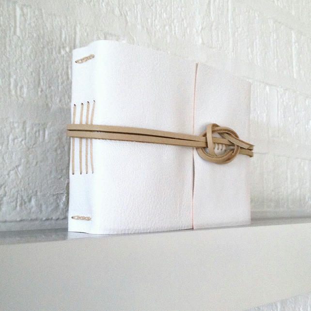 50% SALE Small Classic Wedding Guest Book: White & Natural Leather.