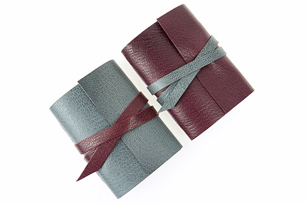 Maroon & Grey Small Leather Notebook