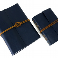Leather Memory Book, Scrapbook, Album: Blue & Tan Longstitch. Medium A5 Portrait