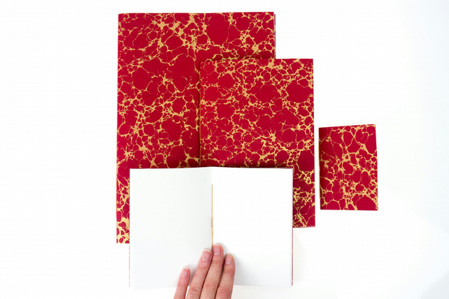 Small Marbled Notebooks: A6 Contemporary Red & Gold, Blue Floral, Green Spot