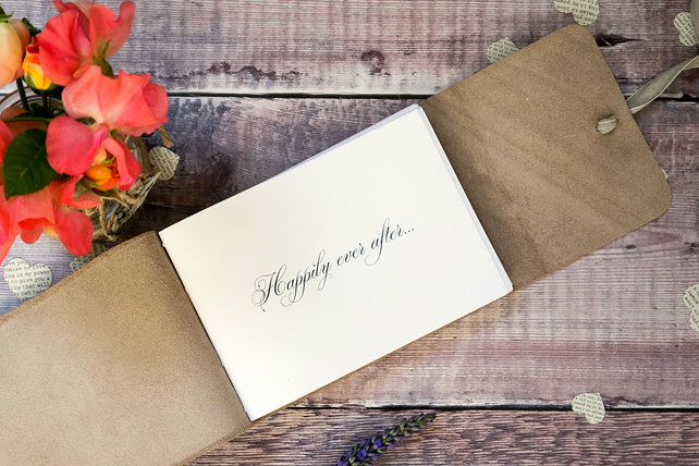 A4 Rustic Wedding Guest Book: Large leather bound with natural linen ribbon