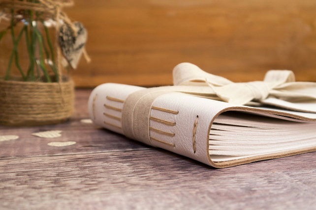 A5 Rustic Wedding Guest Book: Medium leather bound with natural linen ribbon.