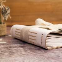Medium Rustic Wedding Guest Book: Leather and Linen Ribbon. Natural, boho style