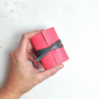 Mini Leather Notebook: Pink and Grey little journal stationery gift.