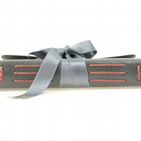 Silk Ribbon Journal: Grey leather with Coral stitching. A6 small portrait