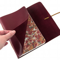 A5 Leather Notebook: Maroon and Tan with Marbled paper, Longstitch style