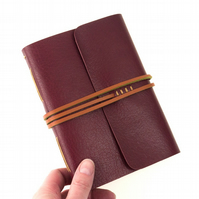A6 Leather Notebook: Maroon and Tan with Marbled Endpapers Longstitch style