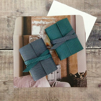 Nordic Notebook: Mini Leather Journal stocking filler in Scandi Teal and Grey
