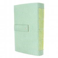 Leather Sketchbook or Journal: Duck Egg & Lemon with cartridge paper, A6 Small