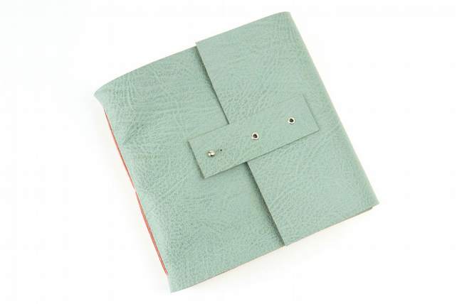 Square Sketchbook: Duck Egg Leather & Coral Linen Thread with Pastel paper.