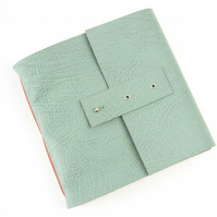 SALE Square Sketchbook: Duck Egg Leather & Coral Linen Thread with Pastel paper.