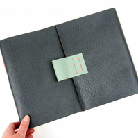 Large Leather Sketchbook for Artists: Grey, Coral, Duck Egg Longstitch binding