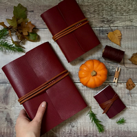 Longstitch Journal: Maroon and tan with marbled endpapers, A6 Portrait