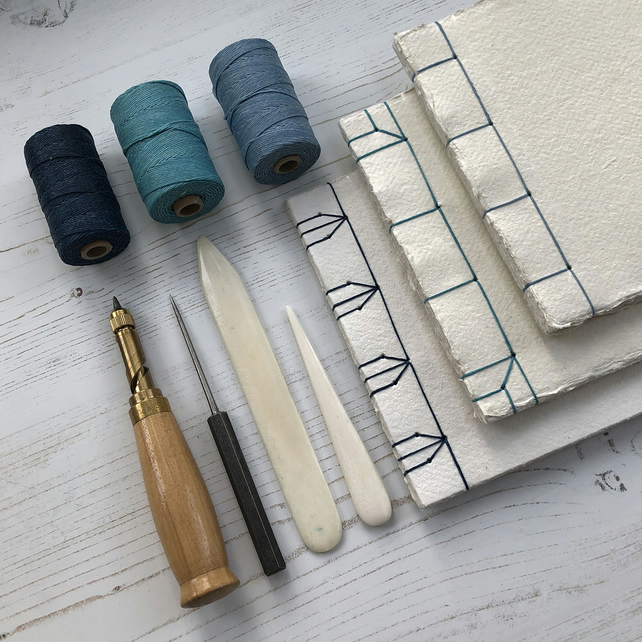 Watercolour Sketchbook: Japanese Stab Stitch Recycled Cotton Rag Khadi Paper