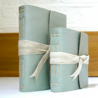 Leather Journal or Notebook with linen ribbon & Mohawk paper. Portrait or Square