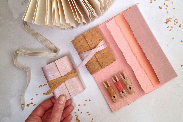 Mini Cork Notebook: Rose & Natural. A vegan, eco-friendly mini journal
