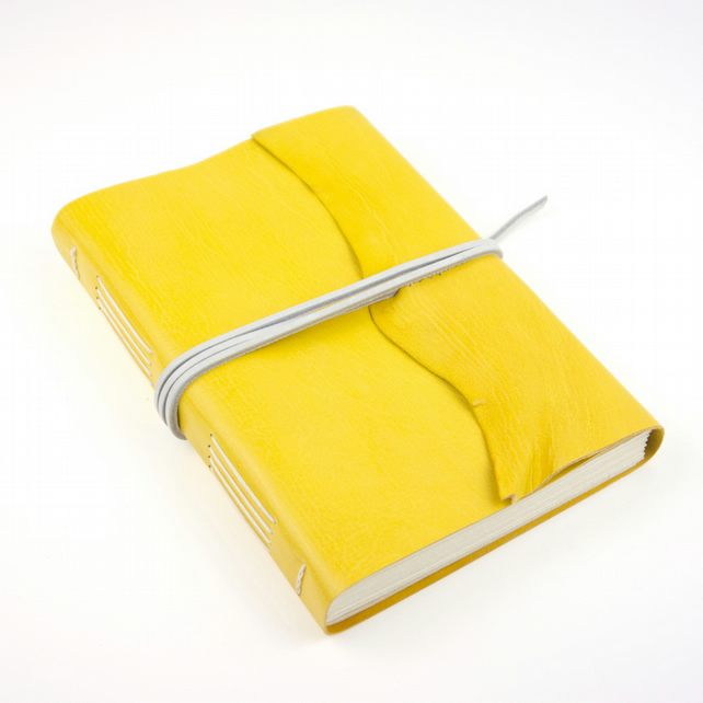 SALE 50% OFF Leather Journal, Sketchbook - Yellow & White A5 Large refillable