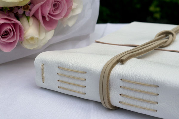 Classic Wedding Guest Book: White & Natural Leather. A5 Medium