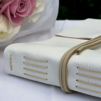 Wedding Guest Book: White & Natural Leather. Medium A5 Elegant, Simple, Handmade