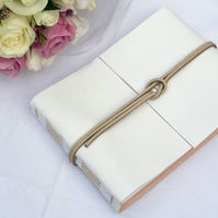 Wedding Guest Book: White & Natural Leather, elegant and simple style.