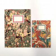 Marbled Notebook Gift Set: A5 and A6 jotters and journals. Vintage papers.
