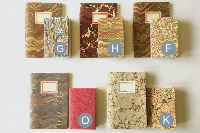 Marbled Notebook Gift Set: A6 and A7 paperback journals and jotters.