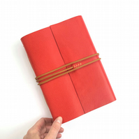 A5 Leather Notebook: Red & Tan Luxury Journal, 256 pages Mohawk unlined paper