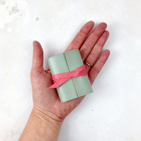 Mini Leather Notebook: Blue & Pink little journal, stationery gift.