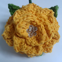 Crochet Yellow Flower Wedding Bouttoniere Buttonhole