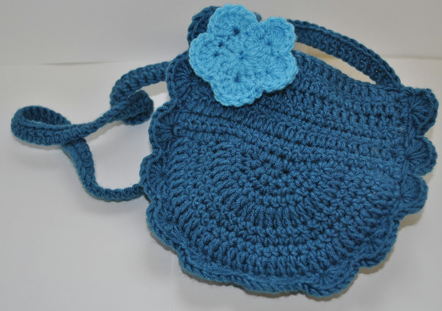 Blue Crochet Small Over Shoulder Girls Bag With Flower Applique