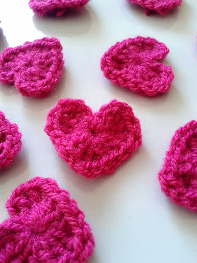 Crochet Pink Hearts Confetti Pack Of 10