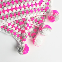 Fluorescent Pink Crochet Granny Square Blanket with Pompom Corners