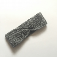 Child Grey Crochet Headband Ear Warmer