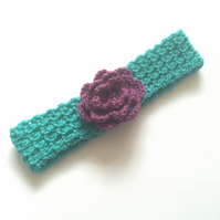 Turqouise and Purple Crochet Flower Headband SALE