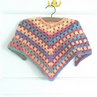 Multicoloured Crochet Poncho Small