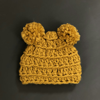 Mustard Baby Double Bobble Hat