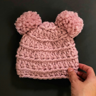 Pink Baby Double Bobble Hat