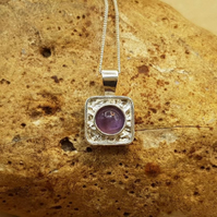 Tiny Square amethyst pendant necklace