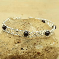 Adjustable Garnet cuff bracelet. January birthstone