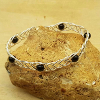 Celtic weave Black tourmaline cuff bracelet. October birthstone.