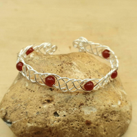 Adjustable Wire wrap Carnelian cuff bracelet. July Birthstone