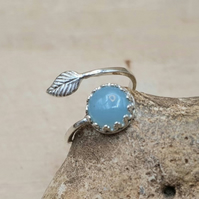 Amazonite leaf ring. 925 sterling silver. Virgo jewellery