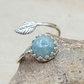 Adjustable Aquamarine leaf ring. March Birthstone. 925 sterling silver