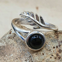 Black Obsidian Feather ring. Adjustable 925 sterling silver rings for women