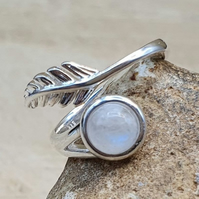 Moonstone Feather ring. June Birthstone. Adjustable 925 sterling silver rings