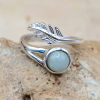 Aquamarine Feather ring. March Birthstone. Adjustable 925 sterling silver rings